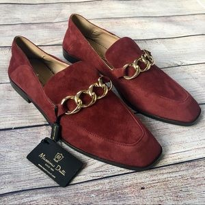 NWT Massimo Dutti Burgundy Suede Loafers